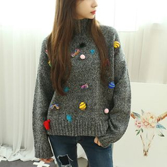 Dodostyle - Appliqué Turtle-Neck Sweater