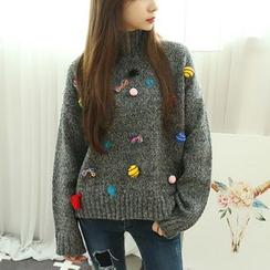 Dodostyle - Appliqué Turtle-Neck Sweater