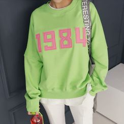 DANI LOVE - Letter Appliqué Colored Sweatshirt