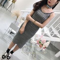 THE XIBI - Striped Spaghetti Strap Knit Dress