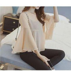 HazyDazy - 套裝: 鐘袖雪紡襯衫 + 小背心