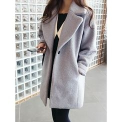 hellopeco - Single-Breasted Wool Blend Coat