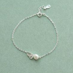 Love Generation - Faux Pearl Plant Sterling Silver Bracelet