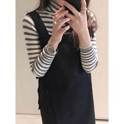 maybe-baby - Turtle-Neck Striped Knit Top