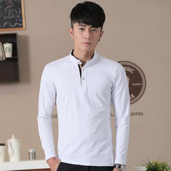 COOLIN - Stand Collar Long-Sleeve Polo Shirt
