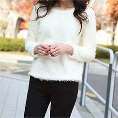 ERANZI - Round-Neck Furry-Knit Top