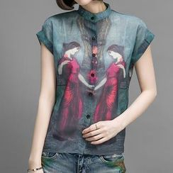 Romantica - Short-Sleeve Printed Blouse