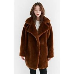 Someday, if - Open-Front Faux-Fur Coat