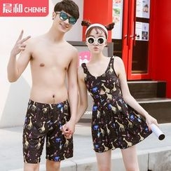 Morning Dew - Women Giraffe Print Swimdress / Men Couple Matching Swim Trunks