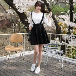 Aikoo - Set: 3/4-Sleeve Lace Top + Jumper Skirt