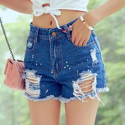 Amella - Distressed Denim Shorts