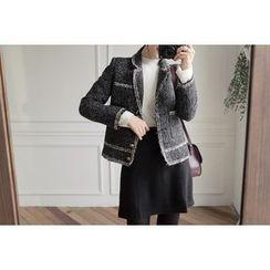 UPTOWNHOLIC - Contrast-Trim Tweed Coat