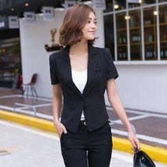 Eleganza - Short-Sleeve Single Button Blazer