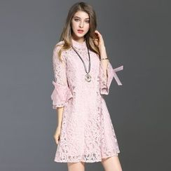 Elabo - Bell-Sleeve A-Line Lace Dress