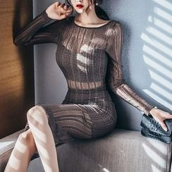 Aurora - Long-Sleeve Sheer Dress