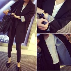 Happy Bird - Notched-Lapel Double-Breasted Long Blazer