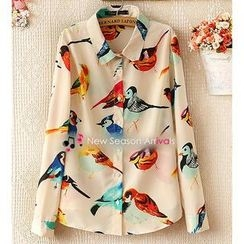 Ringnor - Long-Sleeve Bird-Print Chiffon Shirt