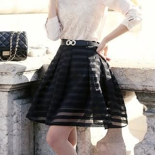 Styleonme - A-Line Striped Organza Skirt