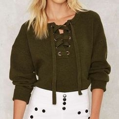 Obel - Lace Up Front Sweater