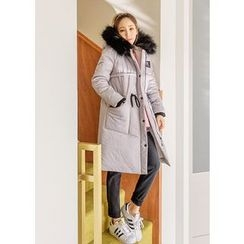 J-ANN - Faux-Fur Hooded Thick Padded Parka
