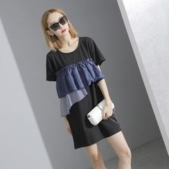 Sonne - Patchwork Ruffled Mini Dress