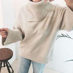 STYLEBYYAM - Turtle-Neck Wide-Sleeve Knit Top