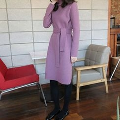 Hello sweety - Mock-Neck Knit Dress with Sash