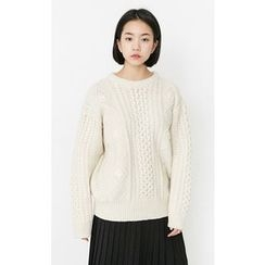 Someday, if - Wool Blend Cable-Knit Sweater