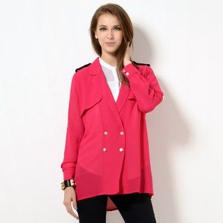 YesStyle Z - Double-Breasted Tab-Sleeve Jacket