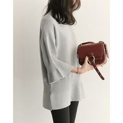 UPTOWNHOLIC - Mock-Neck 3/4-Sleeve Knit Top