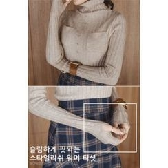 migunstyle - Button-Detail Ribbed Knit Top