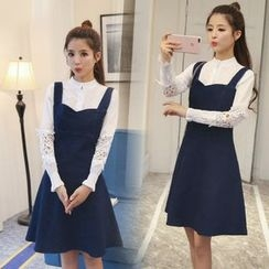Katie Bloom - Set: Lace Panel Shirt + A-Line Denim Pinafore Dress
