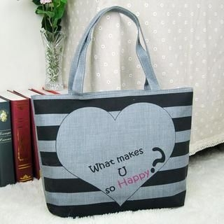 TAIPEI STAR - Canvas Striped Heart-Print Tote