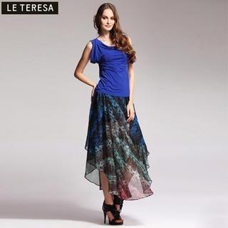 Le Teresa - Diagonal-Hem Printed Chiffon Long Skirt