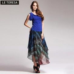 Le Teresa - Diagonal-Hem Printed Chiffon Long Skirt