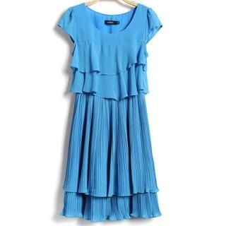 9mg - Cap-Sleeve Accordion-Pleat Layered Dress