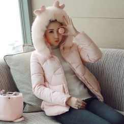 沐乃衣 - 鹿角裝飾連帽夾棉夾克