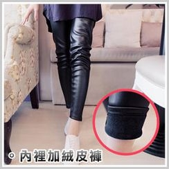 Clair Fashion - Fleece-Lined Faux-Leather Leggings