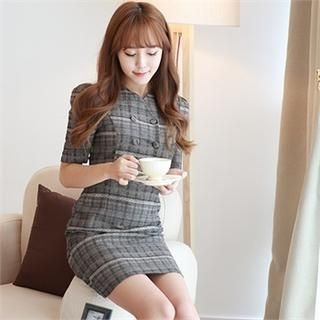 Orange Style - Double Buttoned Ethnic Pattern Check Sheath Dress