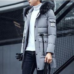 Bay Go Mall - Faux Fur Trim Padded Coat