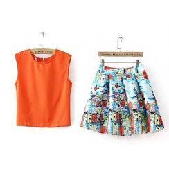 RainbowDay - Set: Tank Top + Floral Skirt