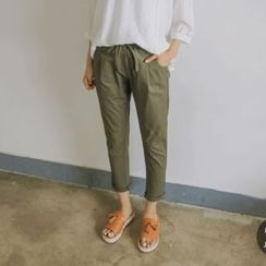 JUSTONE - Drawstring-Waist Tapered Cotton Pants
