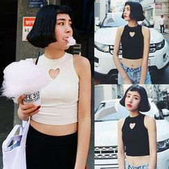 Melon Juice - Heart Cut Out Cropped Tank Top