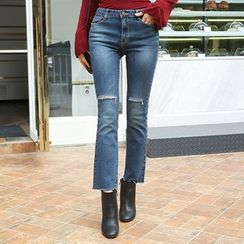 DABAGIRL - Slit-Knee Washed Boot-Cut Jeans