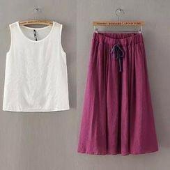 RainbowDay - Set: Sleeveless Plain Top + Drawstring A-Line Midi Skirt