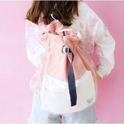 布布and包包 - 拼色抽繩背包