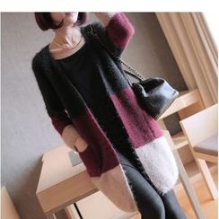 YIDIYU - Color Block Furry Long Cardigan