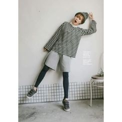 GOROKE - Mock-Neck Stripe Brushed-Fleece Lined Pullover