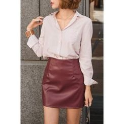 migunstyle - Pocket-Detail Striped Shirt