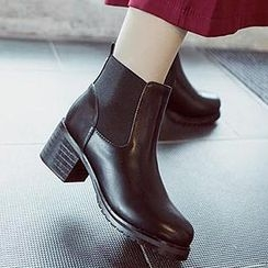 Mancienne - Faux-Leather Chunky-Heel Ankle Boots